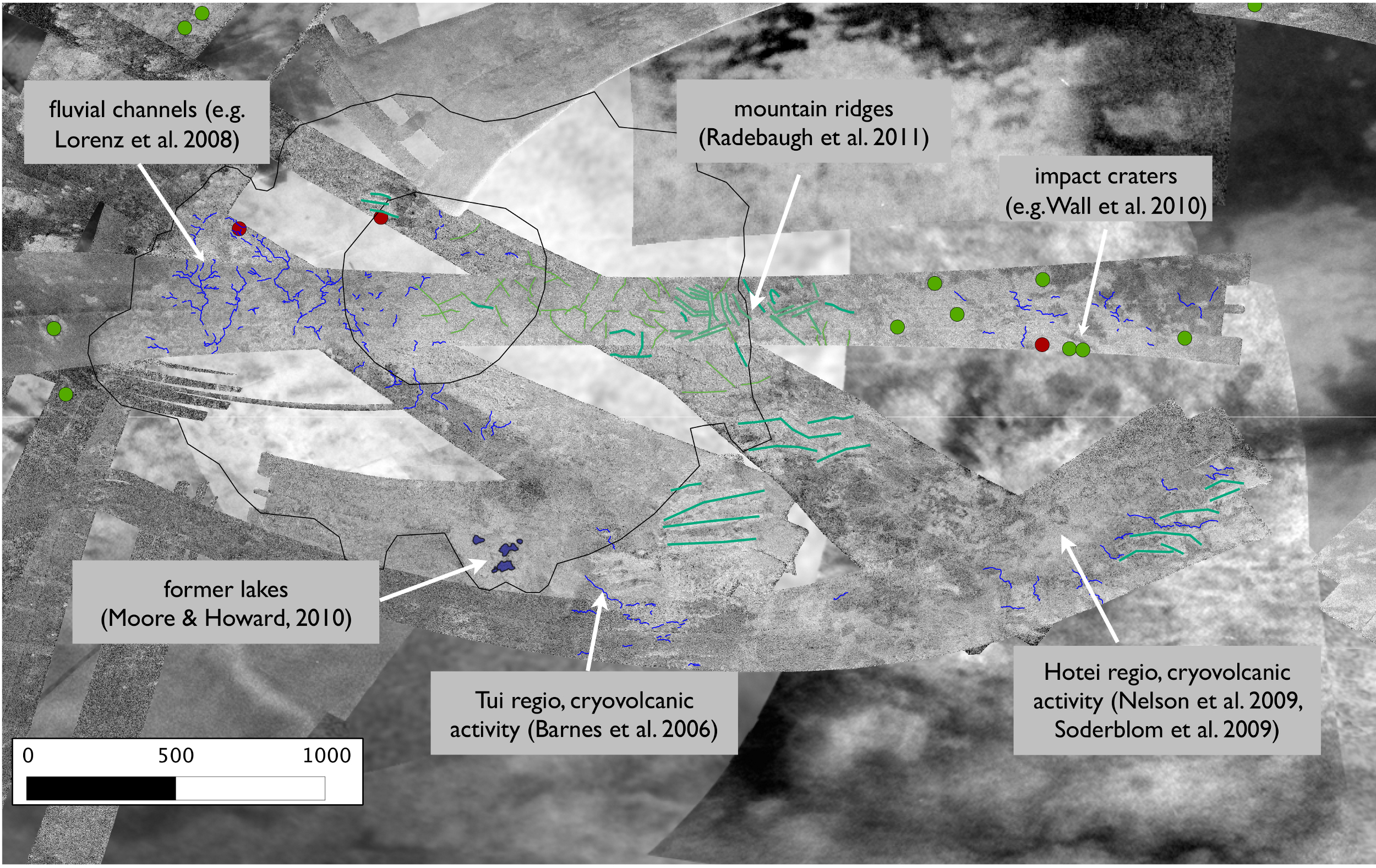 Geomorphologic map of Xanadu. Data: Cassini SAR data, source: (http://pds-imaging.jpl.nasa.gov/portal/cassini_mission.html). background: Cassini-ISS, source: (http://pds-imaging.jpl.nasa.gov/portal/cassini_mission.html). Inner and outer boundary of the Xanadu Circular Feature (XCF) are highlighted at Western Xanadu (black lines, according to Brown et al. (2011)). Green dots: impact craters listed in Wood et al. (2010) and Neish & Lorenz (2012), red dots: potential impact craters. Fluvial channels are delineated in blue. Dark green: lineations seen in mountain ranges, from Radebaugh et al. (2011). Light green: lineations in mountain ranges (Langhans et al. 2013).